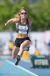 August 12, 2018 - Toronto, ON, U.S. - TORONTO, ON - AUGUST 12: Caroline Ehrhardt (Canada), triple jump at the 2018 North America, Central America, and Caribbean Athletics Association (NACAC) Track and Field Championships on August 12, 2018 held at Varsity Stadium, Toronto, Canada. (Photo by Sean Burges / Icon Sportswire) (Credit Image: © Sean Burges/Icon SMI via ZUMA Press)