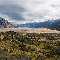View on the valley from the Tasman Glacier Viewpoint .