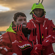 Leg 3, Cape Town to Melbourne, day 14,Louis Sinclair and Blair Tuke on board MAPFRE. Photo by Jen Edney/Volvo Ocean Race. 23 December, 2017.