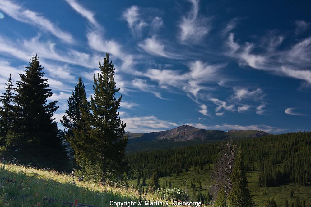 Cirrus uncinus clouds or mares' tails over Shrine Pass, Colorado.