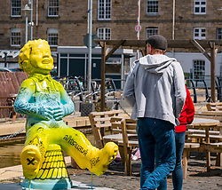 Pictured: Oor Wullie Bucket Art Trail. Leith, Edinburgh, Scotland, United Kingdom, 17 June 2019. An art trail of 200 Oor Wullie sculptures have appeared in Scottish cities overnight in a mass arts event that lasts until August 30th. The sculptures will be auctioned to raise money for Scotland's children's hospital charities. There are 5 in the Leith area, and 60 in Edinburgh altogether. Sailoor Wullie by The Leith Agency at Commercial Quay.<br /> Sally Anderson   EdinburghElitemedia.co.uk