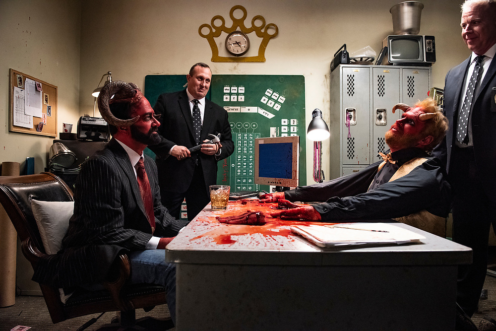 Matt Servitto, and Henry Zebrowski on the set of Adult Swim's Your Pretty Face is Going to Hell