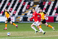 Salford City's Oscar Threlkeld (18) in action during the EFL Sky Bet League 2 match between Newport County and Salford City at Rodney Parade, Newport, Wales on 16 January 2021.
