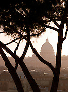 View of St. Peters Basilica from the park at Villa Borghese, Rome, Italy.