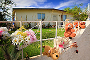 "15 AUGUST 2011 - PHOENIX, AZ: Teddy Bears and flowers on the fence in front of the home that Ame Deal, a 10 year old girl allegedly murdered by her family when she was locked in a footlocker, lived in in Phoenix, AZ. Phoenix police homicide investigators have arrested four people in connection to the death of the 10-year-old girl whose body was found inside a box on July 1, 2011. Police originally thought a game of hide-and-seek had turned deadly but now say family members fabricated the story. During the initial investigation, the family had told police that Ame Lynn Deal and other children were playing hide-and-seek and they believed that Ame must have climbed into the storage box to hide and had accidentally suffocated. According to Sgt. Trent Crump with the Phoenix Police Department, investigators determined that Ame was forced into the footlocker-type box as punishment for stealing a Popsicle from the refrigerator. The box was padlocked and Ame was left in it overnight at her home near 35th Avenue and Broadway Road. She was found dead the following morning. Crump said Ame was forced to do backbends for several hours prior to dragging the chest inside the house herself. He described the box as 31.5 inches in length, 14 inches wide and 12.25 inches deep. At the time of her death, Ame was 4 feet 2 inches tall and weighed 60 pounds. Ame's family members regularly locked her in the box as discipline for poor behavior, according to Crump. There were allegations that she was fed hot sauce, deprived of food and beaten with a board over the past few months. He said when Ame wouldn't pick up dog feces, it was rubbed on her and she was forced to eat it. ""This child died at the hands of those who were supposed to love and care for her... this case has turned the stomachs of some of our most seasoned detectives,"" Crump said. John Allen and his wife, Samantha Allen, both 23, confessed to placing and padlocking Ame in the box on July 12. They were left in charge of Ame that n"