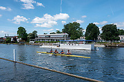 Henley on Thames, United Kingdom, 21st June 2018, Thursday,  Coxless Four, move past the Progress board during a pre Henley Royal Reagatta, Training,  , HRR.  Henley Reach, Thames Valley, River Thames, England, © Peter SPURRIER