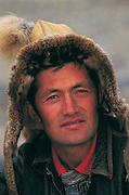 Kazakh<br /> Mongolia's largest ethnic minority<br /> Showing traditional fox fur hat<br /> Bayan Ulgii<br /> Western Mongolia