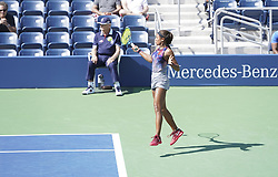 September 4, 2017 - New York, New York, United States - Whitney Osuigwe of USA returns ball during match against Margaryta Blokin of Ukraine at US Open juniors  Championships at Billie Jean King National Tennis Center (Credit Image: © Lev Radin/Pacific Press via ZUMA Wire)