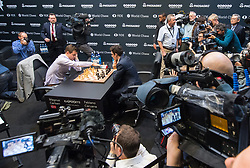 Norwegian reigning champion Magnus Carlson (left) and American challenger Fabiano Caruana during their tie-break matches at the FIDE World Chess Championship match, at the College, in Holborn, London.