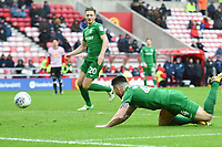 Preston's Sean Maguire dives and scores his sides first goal<br /> <br /> Photographer Jonathan Hobley/CameraSport<br /> <br /> The EFL Sky Bet Championship - Sunderland v Preston North End - Saturday 17th March 2018 - Stadium of Light - Sunderland<br /> <br /> World Copyright © 2018 CameraSport. All rights reserved. 43 Linden Ave. Countesthorpe. Leicester. England. LE8 5PG - Tel: +44 (0) 116 277 4147 - admin@camerasport.com - www.camerasport.com