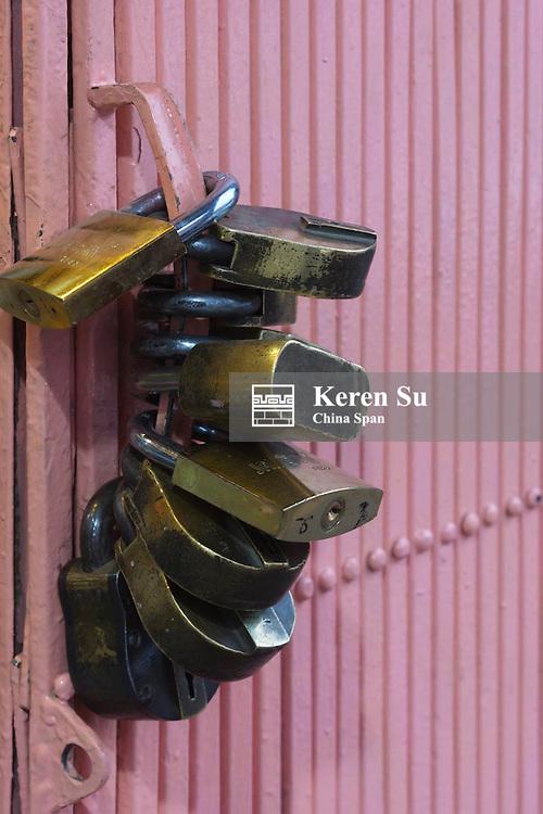 Locks on a door, Jaipur, Rajasthan, India