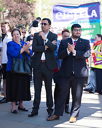 Scottish Labour MP's Jackie Baillie and Anas Sarwar show their support as EIS FELA members continue their strike action with a lobby outside of the Scottish Parliament over a cost of living pay rise. College Lecturers Strike Day Lobby of Parliament, The Scottish Parliament, Edinburgh,  Angie Isac | EEm Thursday 16 May 2019
