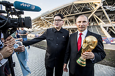 Kim Jong Un and Vladimir Putin look-a-likes outside Samara Arena - 25 June 2018