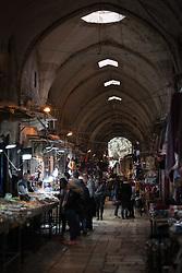 23 February 2020, Jerusalem: People visit a market in the Muslim Quarter in the Jerusalem Old City.