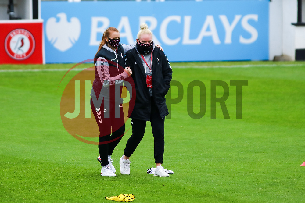 Meaghan Sargeant  and Jesse Woolley of Bristol City Women - Mandatory by-line: Will Cooper/JMP - 18/10/2020 - FOOTBALL - Twerton Park - Bath, England - Bristol City Women v Birmingham City Women - Barclays FA Women's Super League