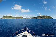 charter fishing vessel Reel Addiction approaches Hunga Island, Vava'u, Kingdom of Tonga, South Pacific