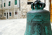 Bronze church bell near St. Krsevan church in Sibenik, Croatia.