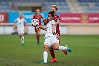 England's Demi Stokes Spain's Amanda Sampedro during the frendly match between woman teams of  Spain and England at Fernando Escartin Stadium in Guadalajara, Spain. October 25, 2016. (ALTERPHOTOS/Rodrigo Jimenez)