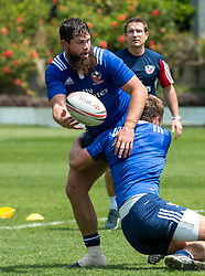 April 3, 2018 - Hong Kong, Hong Kong SAR, CHINA - HONG KONG,HONG KONG SAR,CHINA:April 3rd 2018. The USA Rugby team conduct a training session at So Kon Po recreation ground ahead of their Hong Kong Rugby 7's matches.Danny Barrett is tackled during drills (Credit Image: © Jayne Russell via ZUMA Wire)