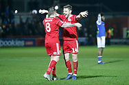 Accrington players celebrate at full time during the The FA Cup 3rd round match between Accrington Stanley and Ipswich Town at the Fraser Eagle Stadium, Accrington, England on 5 January 2019.