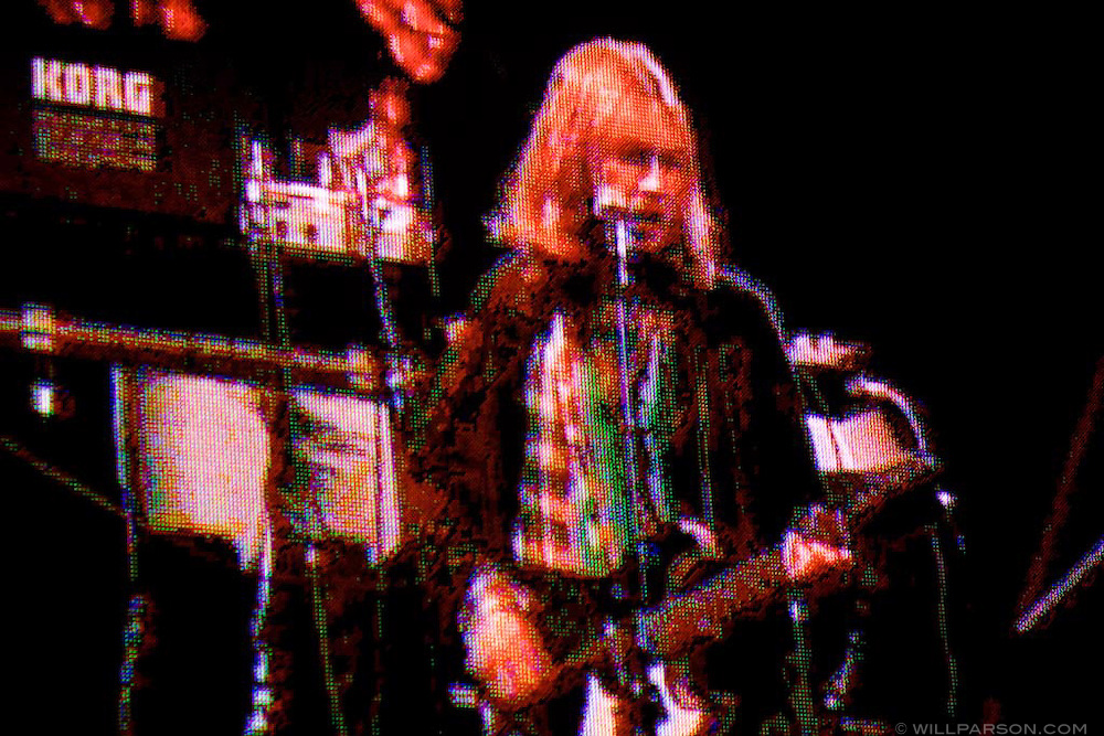 Beck appears on a large screen near the stage during his set at the San Diego Street Scene music festival in San Diego, California on September 19, 2008.