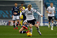 George Saville of Millwall (L) tackles Mark Duffy of Sheffield United (R). EFL Skybet championship match, Millwall v Sheffield Utd at The Den in London on Saturday 2nd December 2017.<br /> pic by Steffan Bowen, Andrew Orchard sports photography.