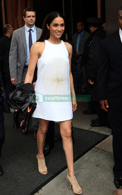 May 15, 2014 - New York City, NY, United States - ACEPIXS.COM....May 15 2014, New York City....Meghan Markle leaves the Trump Soho hotel on the way to the NBCUniversal Cable Entertainment Upfront - 2014  on May 15, 2014 in New York City  (Credit Image: © Zelig Shaul/Ace Pictures/ZUMAPRESS.com)