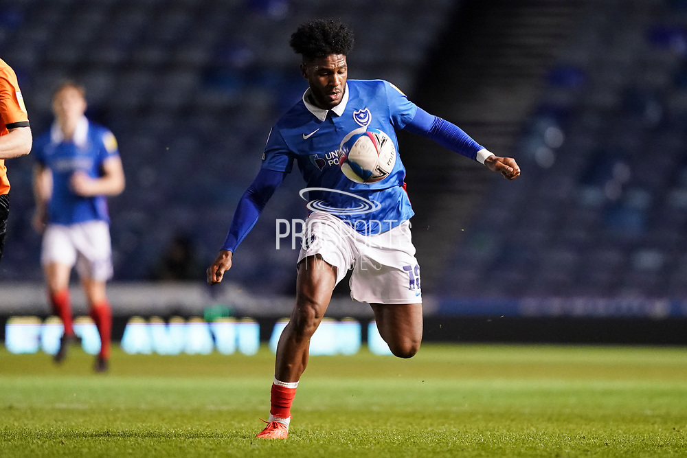 Ellis Harrison of Portsmouth in action during the EFL Sky Bet League 1 match between Portsmouth and Oxford United at Fratton Park, Portsmouth, England on 24 November 2020.