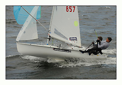 470 Class European Championships Largs - Day 3.Brighter conditions with more wind..GBR857, Ben SAXTON, Richard MASON, Royal Thames YC.