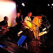PMAC Jazz Faculty members porform at The Music Hall Loft, Portsmouth, NH. Mike Effenberger (keyboard), Bryan Bergeron Killough (guitar), Matt Langley (tenor sax), Russ grazier, Jr. (alto sax), and Nathan Therrien (bass).
