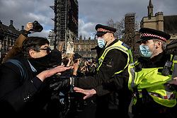 © Licensed to London News Pictures. 03/04/2021. London, UK. Police clash with protesters in Parliament Square during a 'Kill the Bill' protest. Protests have been held across the UK in opposition to the Police, Crime, Sentencing and Courts Bill which would broaden police powers when dealing with protests. Photo credit: Rob Pinney/LNP