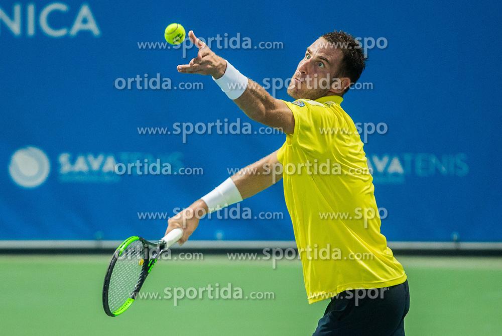 Aldin Setkic (BIH) in action during Quarterfinal of  tennis tournament ATP Challenger Zavarovalnica Sava Slovenia Open 2017, on August 10, 2017 in Sports centre, Portoroz/Portorose, Slovenia. Photo by Vid Ponikvar / Sportida