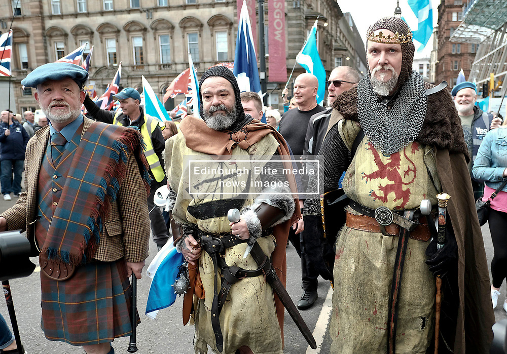 All Under One Banner Independence March, Glasgow, Saturday 4th May 2019<br /> <br /> Pictured: Robert the Bruce attended the march <br /> <br /> Alex Todd   Edinburgh Elite media