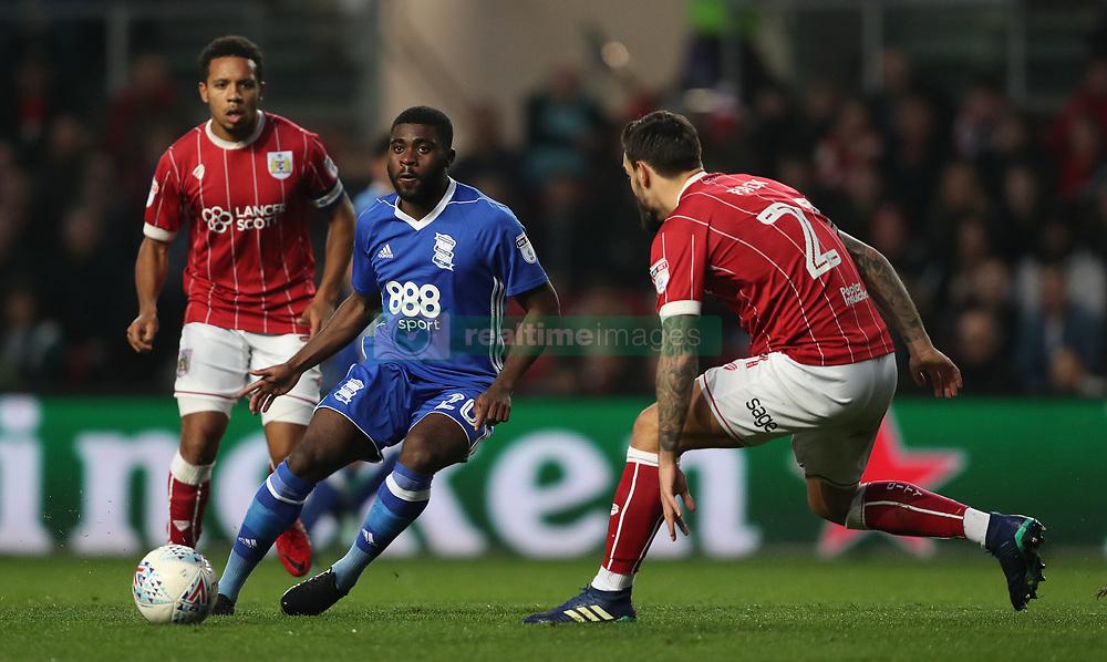 Bristol City's Marlon Pack and Birmingham City's Jeremie Boga