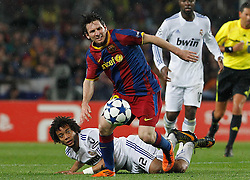 03-05-2011 VOETBAL: SEMI FINAL CL  FC BARCELONA - REAL MADRID: BARCELONA<br /> Lionel Messi and Marcelo Vieira <br /> *** NETHERLANDS ONLY***<br /> ©2011-FH.nl- EXPA/ Alterphotos/ Acero