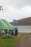 A mountain and sea kayak tour guide hut at Applecross on the 4th November 2018 on the Applecross Peninsula on the west coast of Scotland in the United Kingdom.