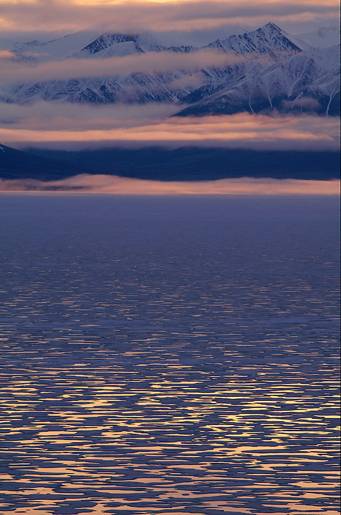 June sea ice in midnight light, Pond Inlet, Canada