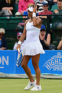 Heather Watson (GBR) shows her frustration as she goes on to lose her match against Alison Riske (USA). The Aegon Open Nottingham 2017, international tennis tournament at the Nottingham tennis centre in Nottingham, Notts , day 2 on Tuesday 13th June 2017.<br /> pic by Bradley Collyer, Andrew Orchard sports photography.