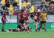 Crusaders David Havili kicks the winning drop goal. Super Rugby Aotearoa. Hurricanes v Crusaders, Sky Stadium, Wellington. Sunday 11th April 2021. Copyright photo: Grant Down / www.photosport.nz