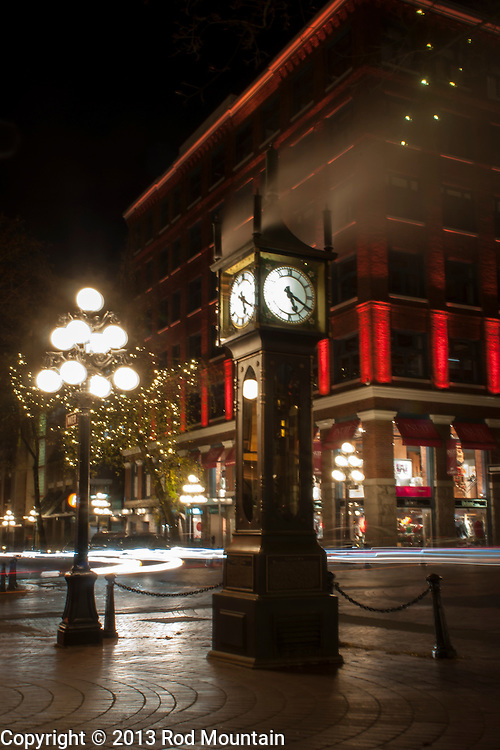 The Gastown Steam Clock is shown at night in Vancouver, British Columbia. Only a few functioning steam clocks exist in the world today. Most have been designed and built by Canadian horologist Raymond Saunders for display in urban public spaces. <br /> <br /> Photo: © Rod Mountain