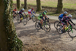 Sheyla Gutierrez charges across the cobbles at Ronde van Drenthe 2017. A 152 km road race on March 11th 2017, starting and finishing in Hoogeveen, Netherlands. (Photo by Sean Robinson/Velofocus)