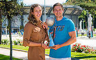 Elise Mertens of Belgium and coach Robbie Ceyssens with the Doubles World No 1 trophy at the 2021 Internazionali BNL d'Italia, WTA 1000 tennis tournament on May 10, 2021 at Foro Italico in Rome, Italy - Photo Rob Prange / Spain ProSportsImages / DPPI / ProSportsImages / DPPI