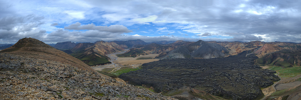 Landmannalaugar, view over the site and the lava below. Six images.