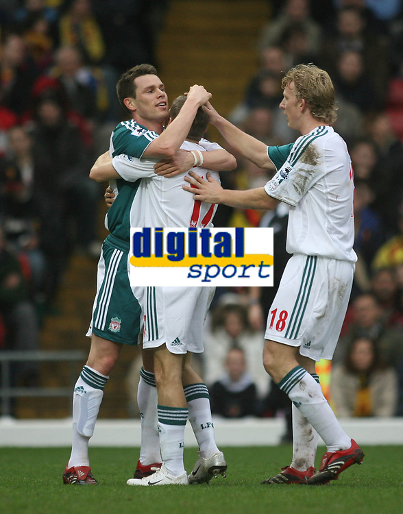 Photo: Marc Atkins.<br /> Watford v Liverpool. The Barclays Premiership. 13/01/2007. Steve Finnan and Dirk Kuyt of Liverpool celebrate with Craig Bellamy after he scores Liverpool's 1st goal.