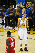 Golden State Warriors guard Stephen Curry (30) reacts to a call during a NBA preseason game against the Los Angeles Clippers at Oracle Arena in Oakland, Calif., on October 4, 2016. (Stan Olszewski/Special to S.F. Examiner)
