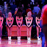 31 January 2014: The Laker Girls are seen during the national anthem prior to the Charlotte Bobcats 110-100 victory over the Los Angeles Lakers at the Staples Center, Los Angeles, California, USA.