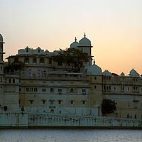 Asia, India, Udaipur. Udaipur City Palace at dusk.