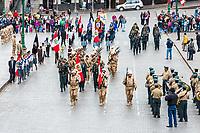 Cuzco, Peru - July 14, 2013: Peruvian  soldiers parading in the Plaza de Armas at Cuzco Peru