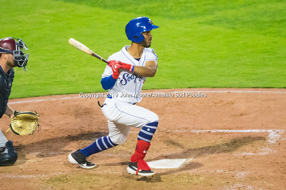 ]sp2] hits the ball against the Frisco RoughRiders on Thursday, Aug. 1, 2019, at HODGETOWN in Amarillo, Texas. [Photo by John Moore/Amarillo Sod Poodles]