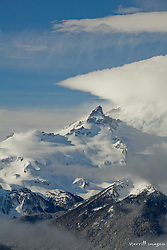 North America, United States, Washington, snow-covered Mt. Rainier, viewed from Crystal Mountain